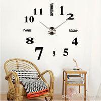 Wholesale 2016 New Cheap Factory Price Modern DIY Large Wall Clock D Mirror Surface Sticker Home Decor Art Design New DHL