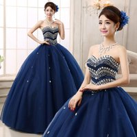 Wholesale 2015 New Arrival Ball Gown Strapless Lace Up Floor Length Tulle Crystal Quinceanera Dresses Navy Blue Prom Gowns