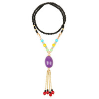 Cheap Big Hole Beads Necklace The beeswax Crystal pendants Chinese Tibet Jewelry for women Sweater Chain Jewelry Layered Necklace Fashion Jewelry