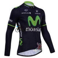 Wholesale Long Bib Movistar - 2015 movistar team Winter fleece jerseys with long sleeve clothes cycling jersey+bib pants, bicycle wear winter cycling kits