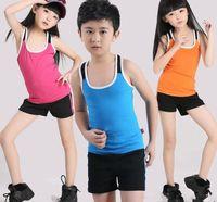 Wholesale Hot sale new Cotton Aerobics Sleevelss Sport Slim Calisthenics Elastic Children Clothing Tshirt Pants Kids Tank Top Vest Shorts Oufits