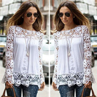Cheap new Spring Ladies Floral Full Sleeve Chiffon Blouse Lace Top Shirt Blouse Women Clothing Plus size