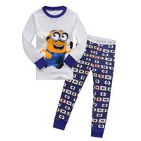 men cotton pajamas set - 2015 Kids Boys Despicable me minion Spider Man Pajamas Children s Cartoon Pyjamas Sleepwear Long Sleeve Clothing set Printed G