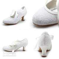 Wholesale Free Ship Eye Catching In Stock White Or Ivory Lace Ribbon Leather CM Middle Heel Summer Bridal Wedding Shoes For Bride SS007