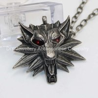 Pendant Necklaces amulet pendants - 12pcs cm red eyes original Witcher pendant wizard Witcher medallion pendant necklace the wild hunt figure game wolf amulet
