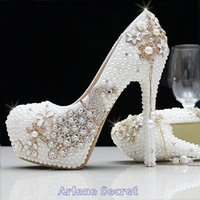 Wholesale 2015 Sparkly Crystal Rhinestone Wedding Bridal Shoes Bling CM to CM High Heel Pearls Evening Party Prom Flowers Elegant Shoes WS0007