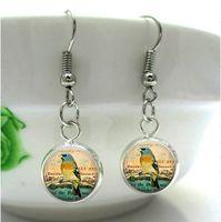 american birds photos - HE55 Eastern Bluebird Earrings Glass Dome Vintage bird Charm Picture Charm Custom art Photo Charm Handcrafted Jewelry