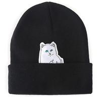 al por mayor cráneos gato-ashion Mujeres Y Hombre Beanie cráneo con LOGO gato dedo unisex gorros invierno Beanie sombreros hechos punto envío gratuito