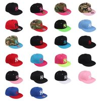 Cheap New snapback cap twill embroidered canvas Korean new NY show pink baseball caps adjustable hip hop lovers male and female flat-brimmed hats