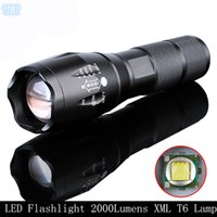 Wholesale E17 Cree LED Flashlight Lumens Waterproof Zoomable Mode XML T6 Lamp Camping Torch By Rechargeable Battery