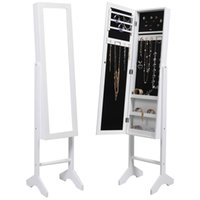 mirror cabinet - White Mirrored Jewelry Cabinet Armoire Mirror Organizer Storage Box Ring W Stand