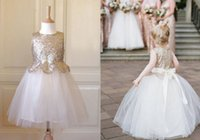 fabric tulle - 2015 Floor length Jewel Flower Girl Dresses Tulle Gold Sequins Fabric Ball Gowns Sash Cheap Gowns New Pageant Dress for Kids for Wedding