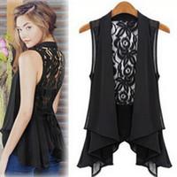 Wholesale New Hollow Blouse Back Kace Crochet Chiffon Lace Coat Top For Women Shirt Fashion Top Drop Shipping