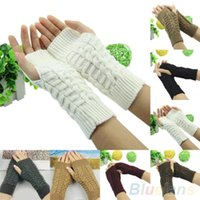 Wholesale New Winter Unisex Arm Warmer Elbow Long Fingerless Mitten Knitted Soft Gloves T2L