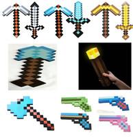 gun - Christmas Gift Minecraft Foam Diamond Sword and Pickaxe Gun shovel Axe torch Combo Set designs weapons EVA kids toys Y20132