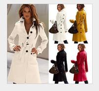 achat en gros de laine jaune long manteau-Hot Sale Coat Ladies Cashmere Hiver 2015 Femmes solides longues à double boutonnage revers Neck Windbreaker manteaux d'hiver jaune Manteau en laine Femmes