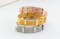 belt buckle celtic - Fashion titanium mesh belt narrow buckle bracelets luxury rose gold silver adjustable bangle cuff women men statement jewelry