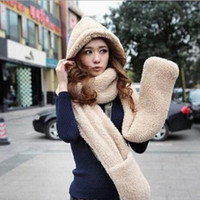 Wholesale New Fluffy Plush Animal Hood Hats With Long Scarf And Mittens Huskey Winter Hat Scarf Gloves One Piece Set Thermal Scarf