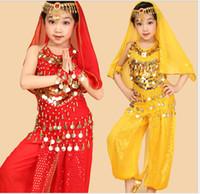 Wholesale Fashion New Girl Bellydance Costume for Girls Belly Dance Top Pants Dancing Belt Veil Bracelet