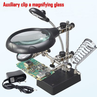 Wholesale Repair Magnifier LED Light Tools x x x Magnification Lupa Magnifying Glass With LED Charger AA Soldering Stand Lamp T9C