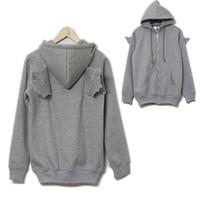Wholesale Casual Womens Back Angel Wings Fleece Hoodie Zip Up Sweatshirt Coat Jacket Tops Hot FG1511