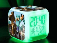 Wholesale 2015 hot Minecraft Alarm Clock Creeper Clock with LED Multifunction Night Light Electronic Alarm Clock Toys