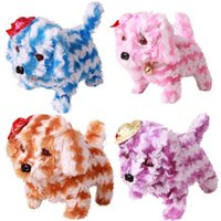 Wholesale Cute Funny Stripe Walking Barking Puppy Dog Plush Animal Electronic Pet Toys
