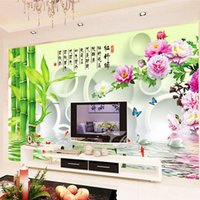 bamboo painting feng shui - 250cm Full Embroidery Scenic Cross Stitch Bamboo Peony Flower Butterfly Fish Wall Decor Painting Wealth Health Safe Living Room Free Shiping