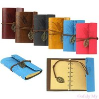 Wholesale Gofuly Vintage Leaf PU Leather Cover Loose Leaf Blank Notebook Journal Diary Gift
