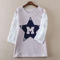 Wholesale Original single ladies spring new lace stitching sleeve cotton sweater hollow female letters printed GB