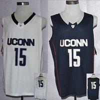 Wholesale Uconn Huskies Kemba College Basketball Jerseys White Black stitched name and logo Size M L XL XL