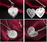 perfumes - 2015 hot selling silver heart perfume diffuser locket pendant necklace essential oil Fragrance pendant necklace best gift
