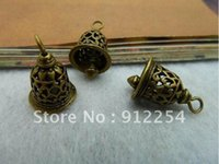 antique brass clock - 3 x16mm Antique Bronze Brass Mini D Traditional Clock Bell Charms Pendant C2306