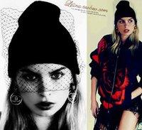 Wholesale 2015 Women Mesh gauze Beanies European wind veil retro face yarn knitted hat retro knit Cap