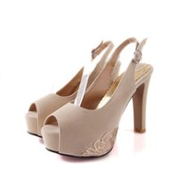 leather pumps - 1 Pair New Variety of colorful Pumps Thick high heels Shoes Platform Women Party Big size Nubuck leather bridal