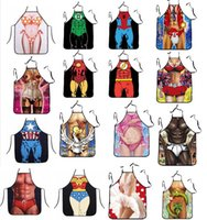 Wholesale 50PC styles superhero apron superman batman Kitchen aprons spiderman flash hulk apron Funny Cooking Anime Cartoon Aprons party gifts