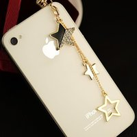 Cheap Min.order is $10(Mix order) Free shipping Moblie Phone accessories Earphone jack plug Fashion Star 3.5mm Cell Phone Dust Plug