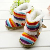 Wholesale Winter Newborn Infant Boots Rainbow Stripe M Toddler Baby s Boy girl First Walker Boots Baby Shoes pair