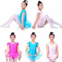 Wholesale New Children Girls Kids Baby Candy Color Short Sleeve Layered Tutu Ballet Dancewear Dance Dress Costumes