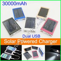 Wholesale 30000 mah Solar Charger and Battery mAh Solar Panel Dual Charging Ports portable power bank for All Cell Phone table PC MP3