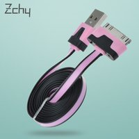 Wholesale For Apple iphone4S data cable color pasta line one meter phone flat cable color data lines