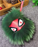 Wholesale XMAS GIFT Real Fur Leather Monster Babyface Doll Ball Keychain Bag Pendant Car Keychain