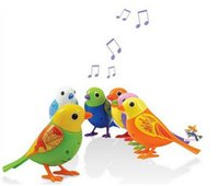 battery cages - Kids Electric Digibird toy singing bird educational baby toy pet with cage whistle mimic real bird tweet sing move4 colors