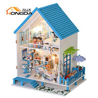 Cheap Wholesale-Love Aegean Model Building Hand Made DIY Wooden Music Box Doll House Casa de boneca Mini Dollhouse Christmas Birthday New Year