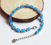 Wholesale Exquisite Oval Design Blue Fire Opal Stone Linked Bracelets for Women stamped