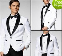 Cheap Top Selling New White Jacket With Black Satin Lapel Groom Tuxedos Groomsmen Best Man Suit Men Wedding Suits (Jacket+Pants+Bow Tie+Girdle) A1