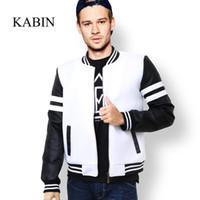 Wholesale KABIN Autumn Spring Men s baseball Jacket Fashion Hip hop Style Scuba Fabric And Leather Patchwork Bomber Jacket Men