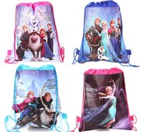 Wholesale Create snow and ice FROZEN Pocket Double Beam Non woven Fabric Printing Draw String Bag Receive Bag