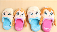 cartoon slippers - 2015 new Frozen Elsa Anna Winter Warm Slippers Frozen shoes Three dimensional cartoon indoor children slippers