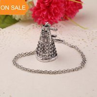 antique robots - Doctor Who Necklace Antique Silver Alien Robot Dalek Pendants necklaces movie statement Jewelry punk jewelry